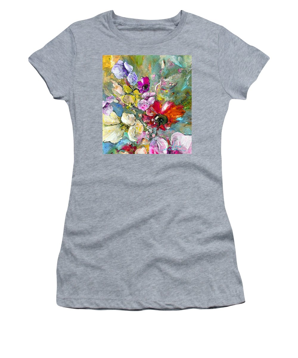 Nature Painting Women's T-Shirt (Athletic Fit) featuring the painting First Flowers by Miki De Goodaboom