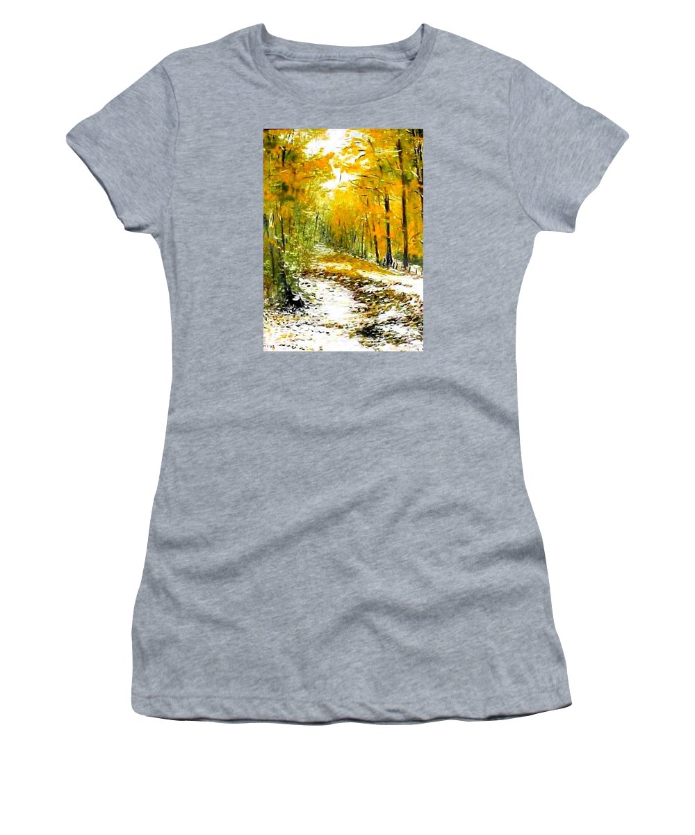 Landscape Women's T-Shirt featuring the painting First Snow by Boris Garibyan