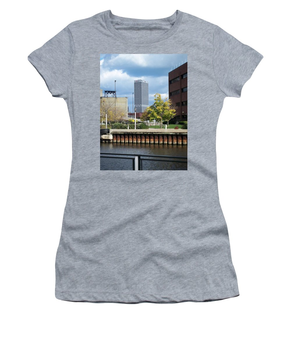 First Star Bank Women's T-Shirt featuring the photograph First Star Tall View From River by Anita Burgermeister