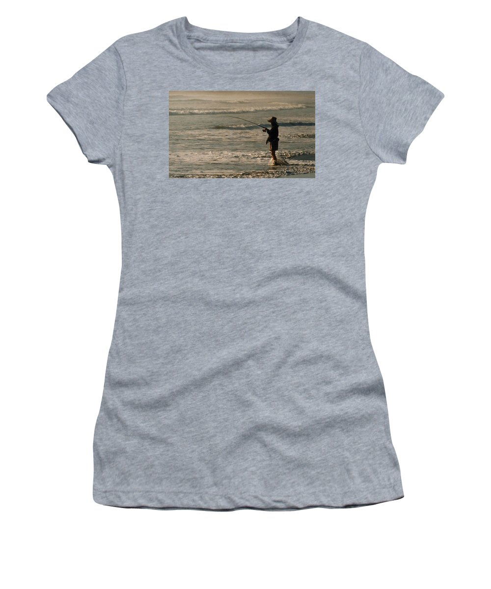 Fisherman Women's T-Shirt featuring the photograph Fisherman by Steve Karol