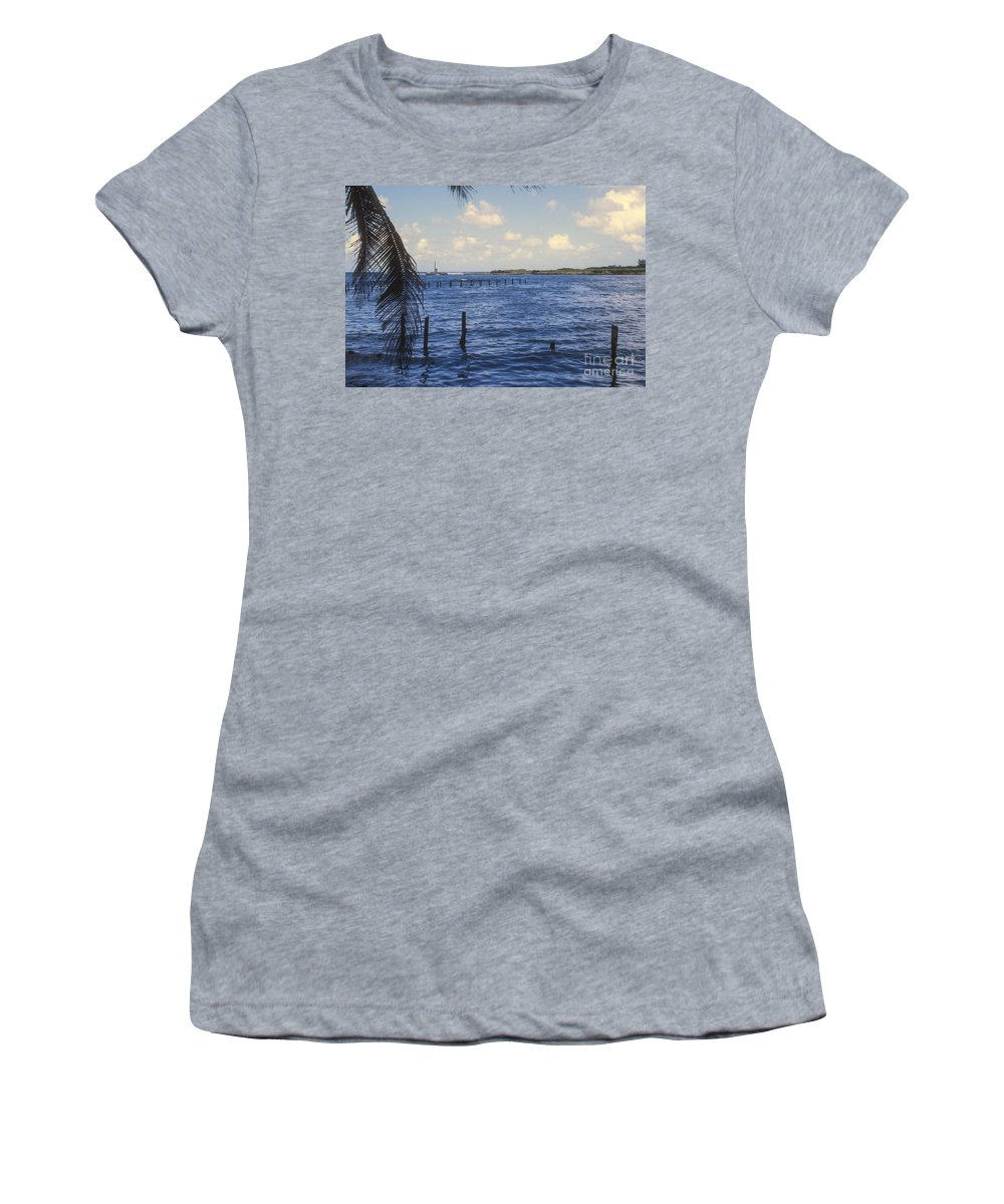 Cojimar Cuba Hemingway Fishing Cove Water Waterscape Waterscapes Coves Women's T-Shirt (Athletic Fit) featuring the photograph Fishing Cove by Bob Phillips
