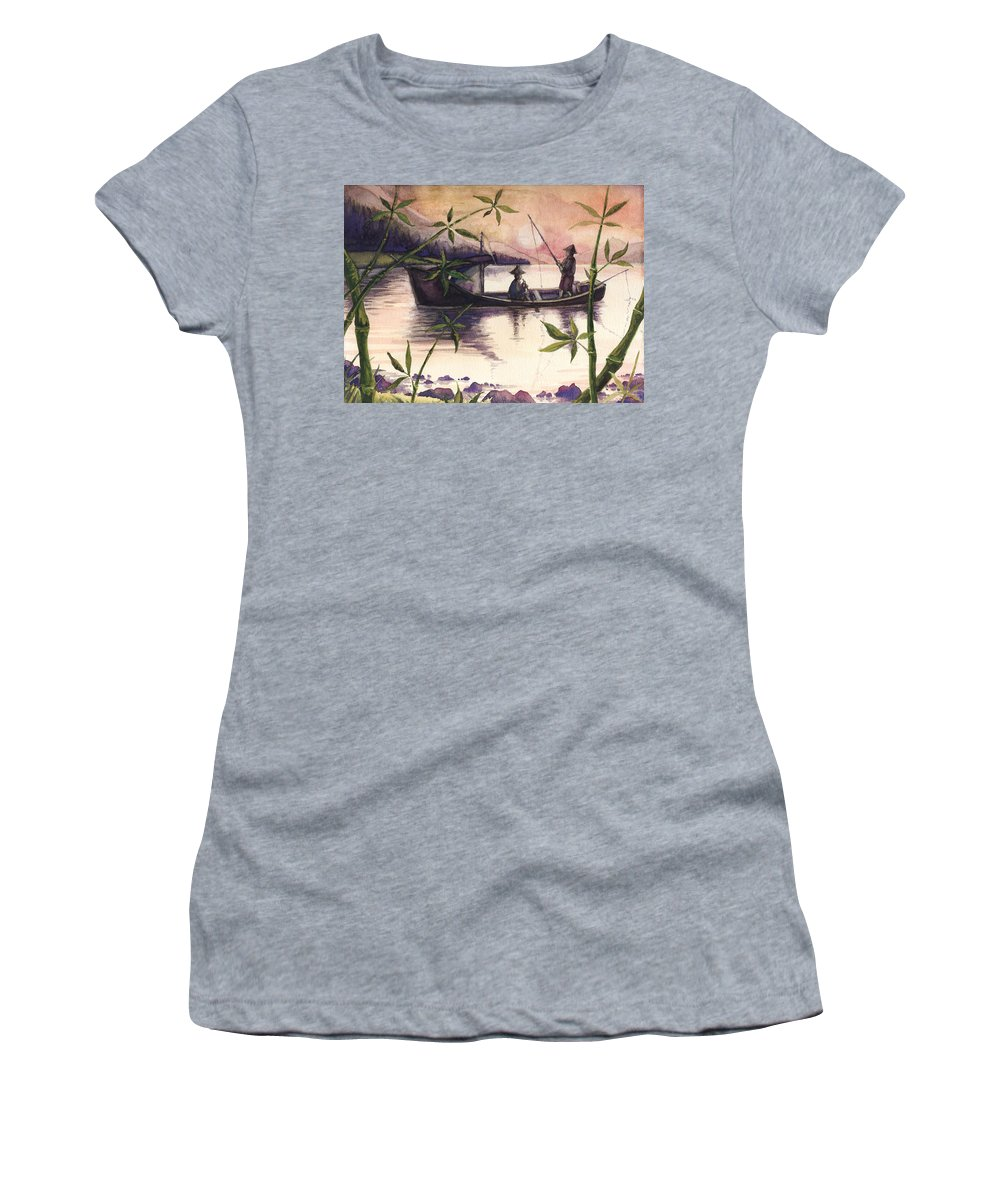 Fishing Women's T-Shirt featuring the painting Fishing In The Sunset  by Alban Dizdari