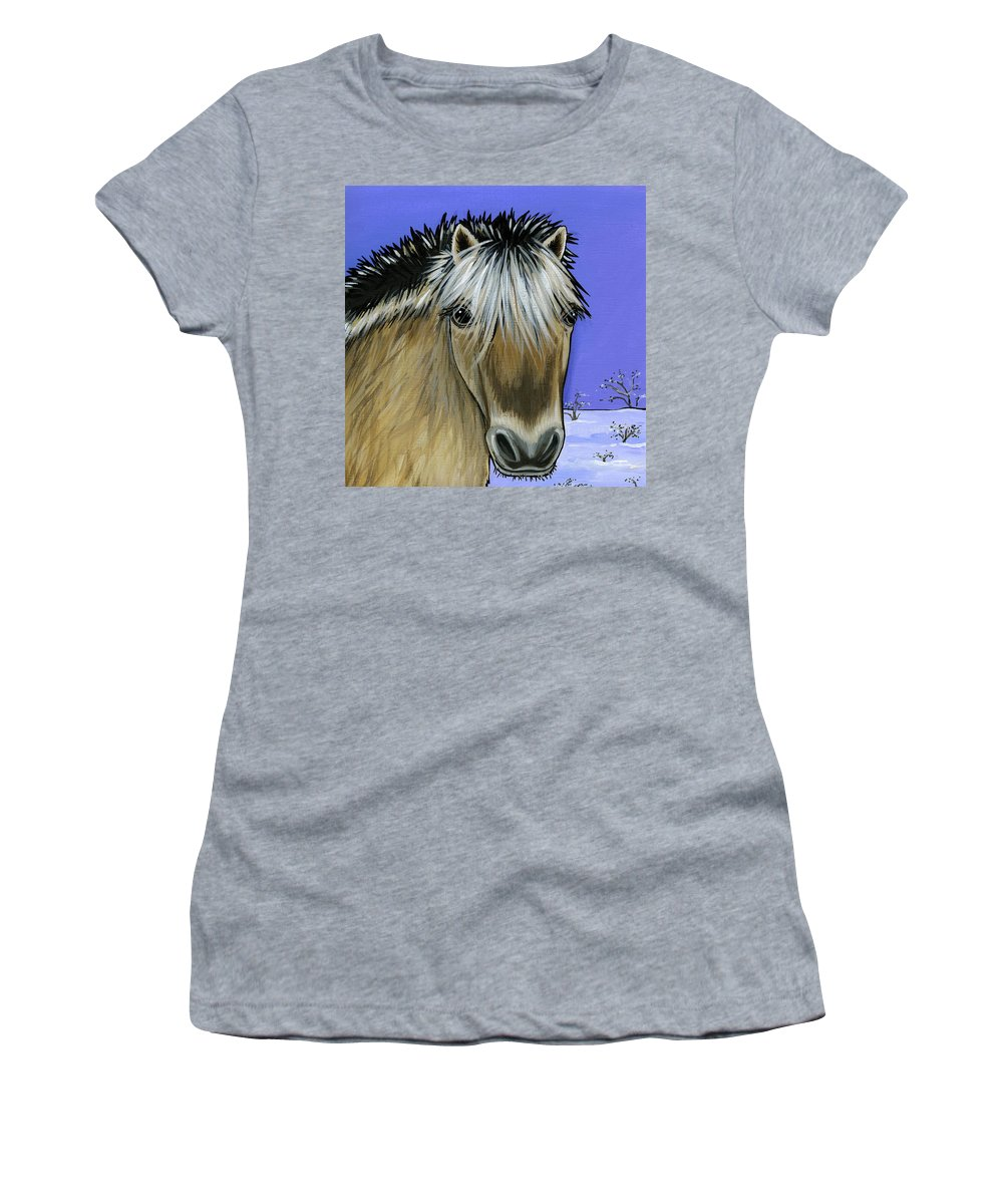 Fjord Pony Women's T-Shirt (Athletic Fit) featuring the painting Fjord Pony by Leanne Wilkes