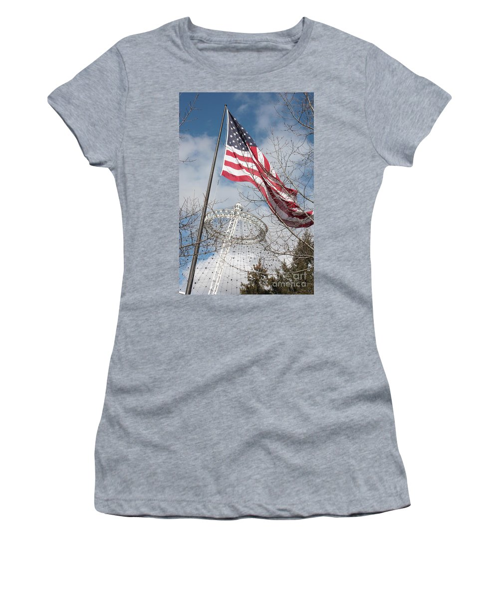 American Flag Women's T-Shirt (Athletic Fit) featuring the photograph Flag Over Spokane Pavilion by Carol Groenen
