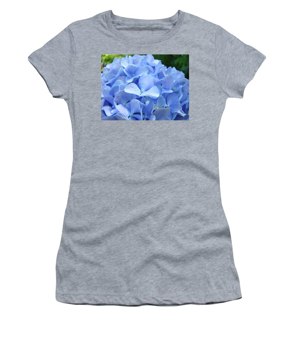 Hydrangea Women's T-Shirt featuring the photograph Floral Artwork Blue Hydrangea Flowers Baslee Troutman by Baslee Troutman