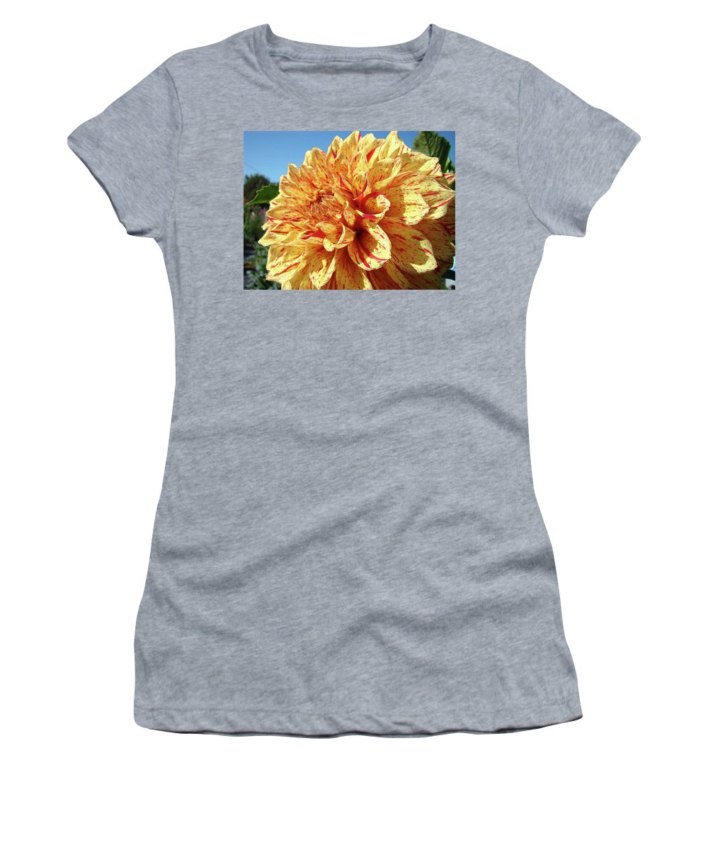 Dahlia Women's T-Shirt (Athletic Fit) featuring the photograph Floral Dahlia Flower Art Print Orange Red Dahlias Baslee by Baslee Troutman