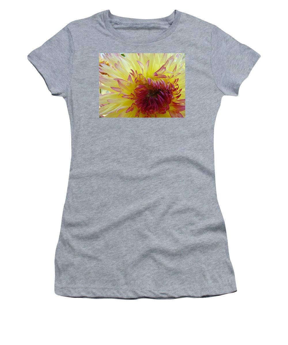 Dahlia Women's T-Shirt (Athletic Fit) featuring the photograph Floral Fine Art Dahlia Flower Yellow Red Prints Baslee Troutman by Baslee Troutman
