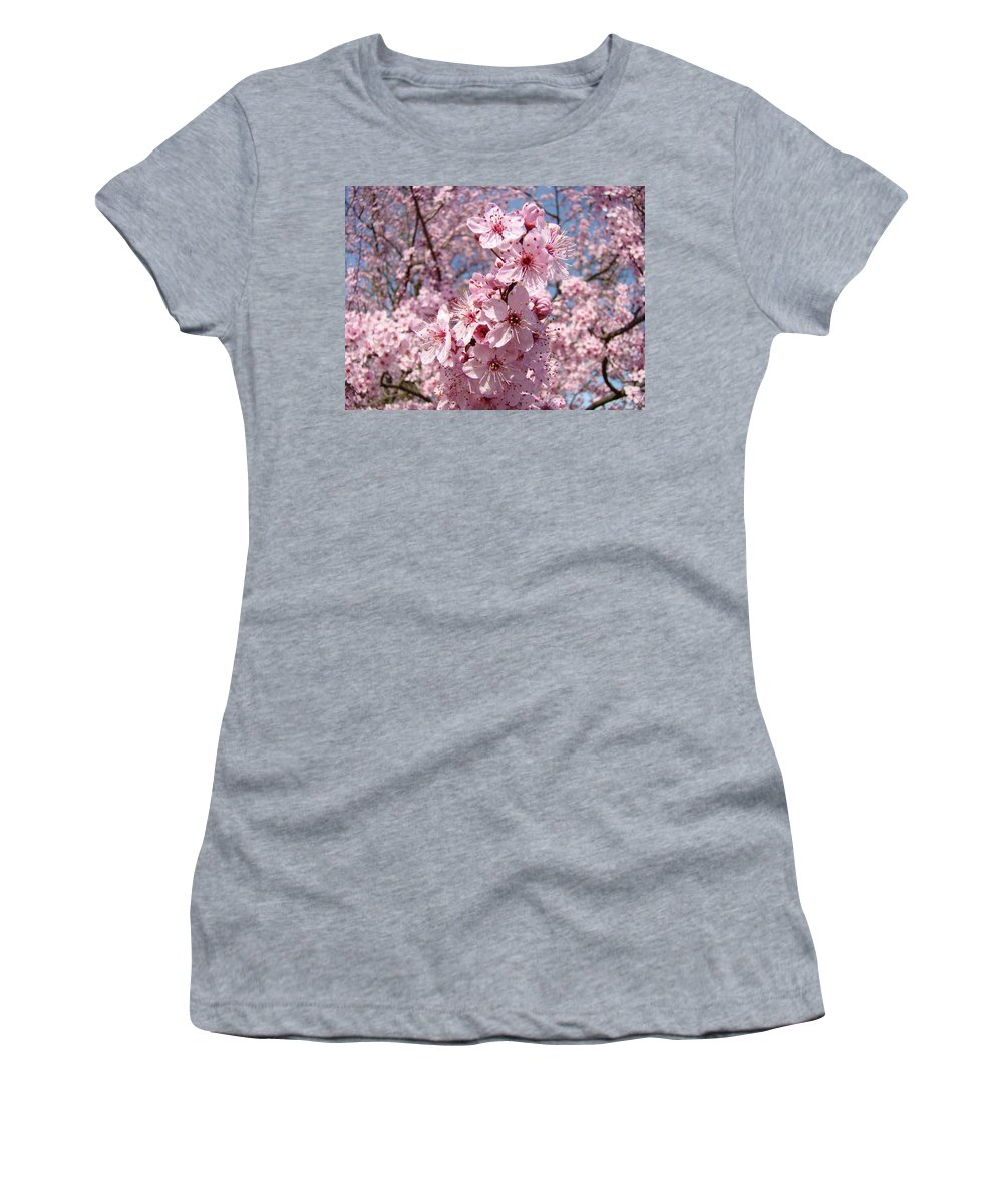 Blossom Women's T-Shirt featuring the photograph Floral Spring Art Pink Blossoms Canvas Baslee Troutman by Baslee Troutman