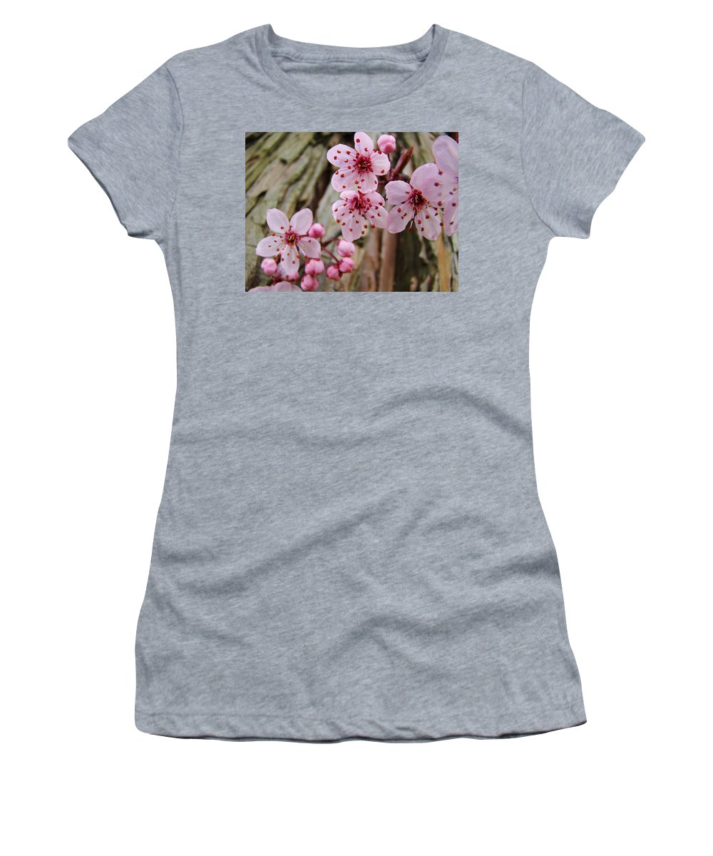 Tree Women's T-Shirt (Athletic Fit) featuring the photograph Flower Blossoms Pink Tree Blossoms Art Print Giclee Spring Flowers by Baslee Troutman