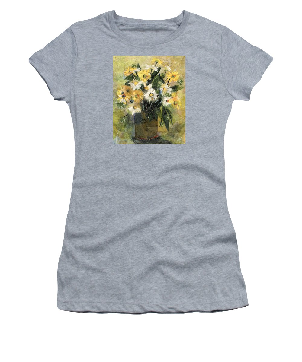 Limited Edition Prints Women's T-Shirt (Athletic Fit) featuring the painting Flowers In White And Yellow by Nira Schwartz