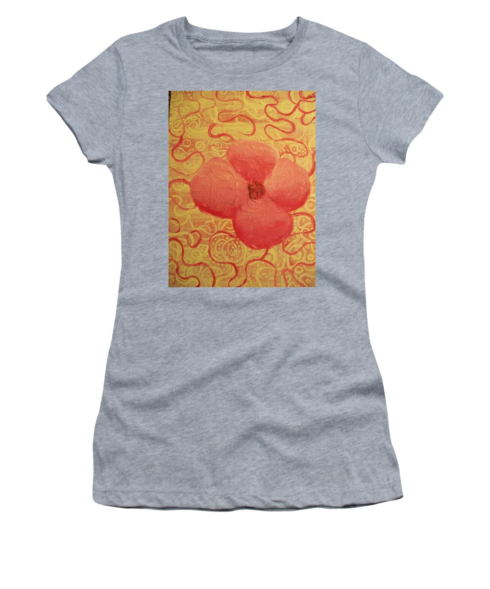 Yellow Women's T-Shirt (Athletic Fit) featuring the painting Fluffy by Laurette Escobar