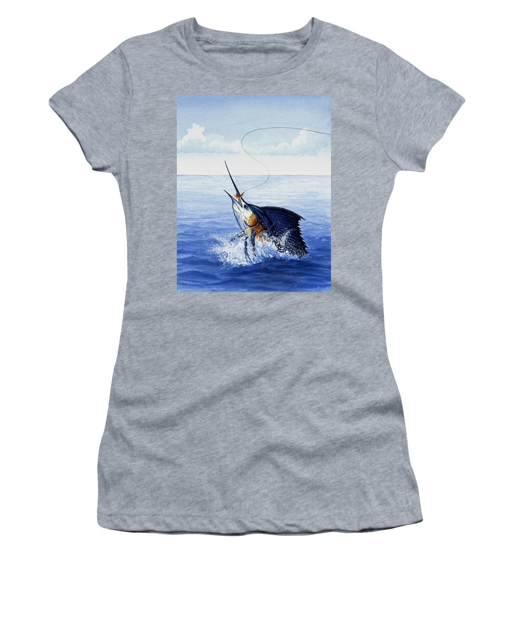 Charles Women's T-Shirt (Athletic Fit) featuring the painting Fly Fishing For Sailfish by Charles Harden