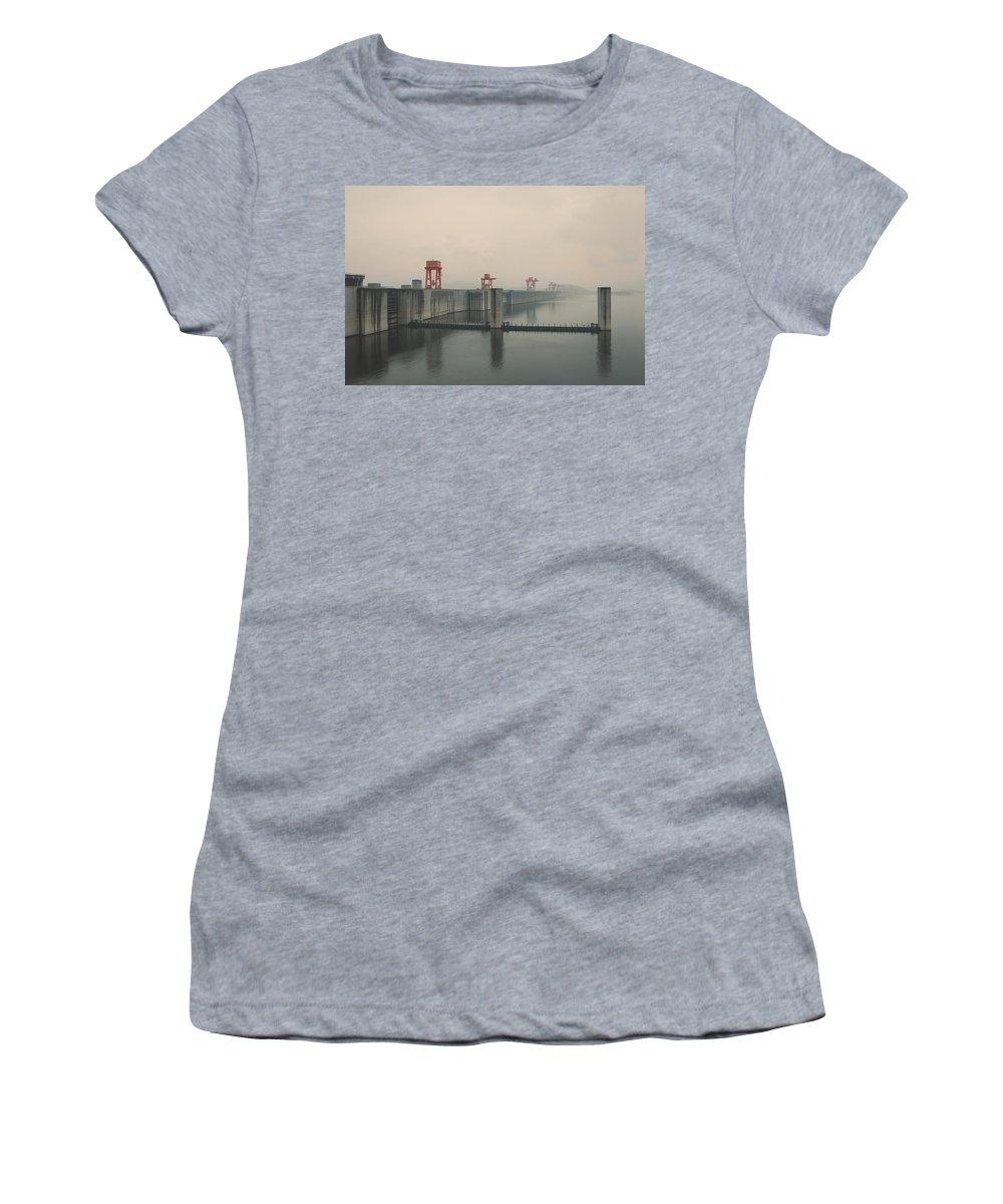 Foggy Women's T-Shirt featuring the photograph Foggy Three Gorges Dam by BONB Creative