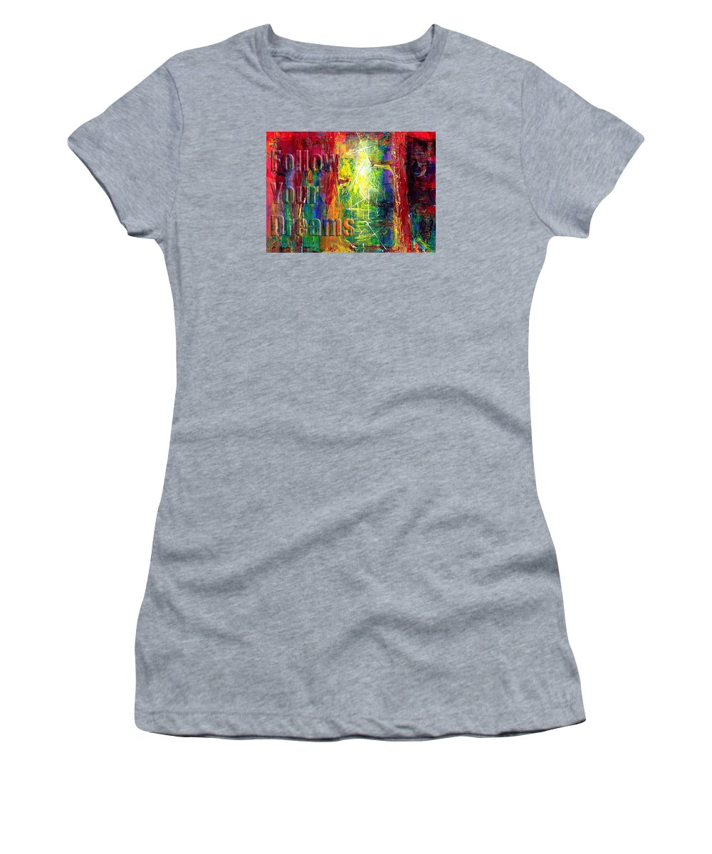 Greeting Cards Women's T-Shirt featuring the painting Follow Your Dreams Embossed by Thomas Lupari
