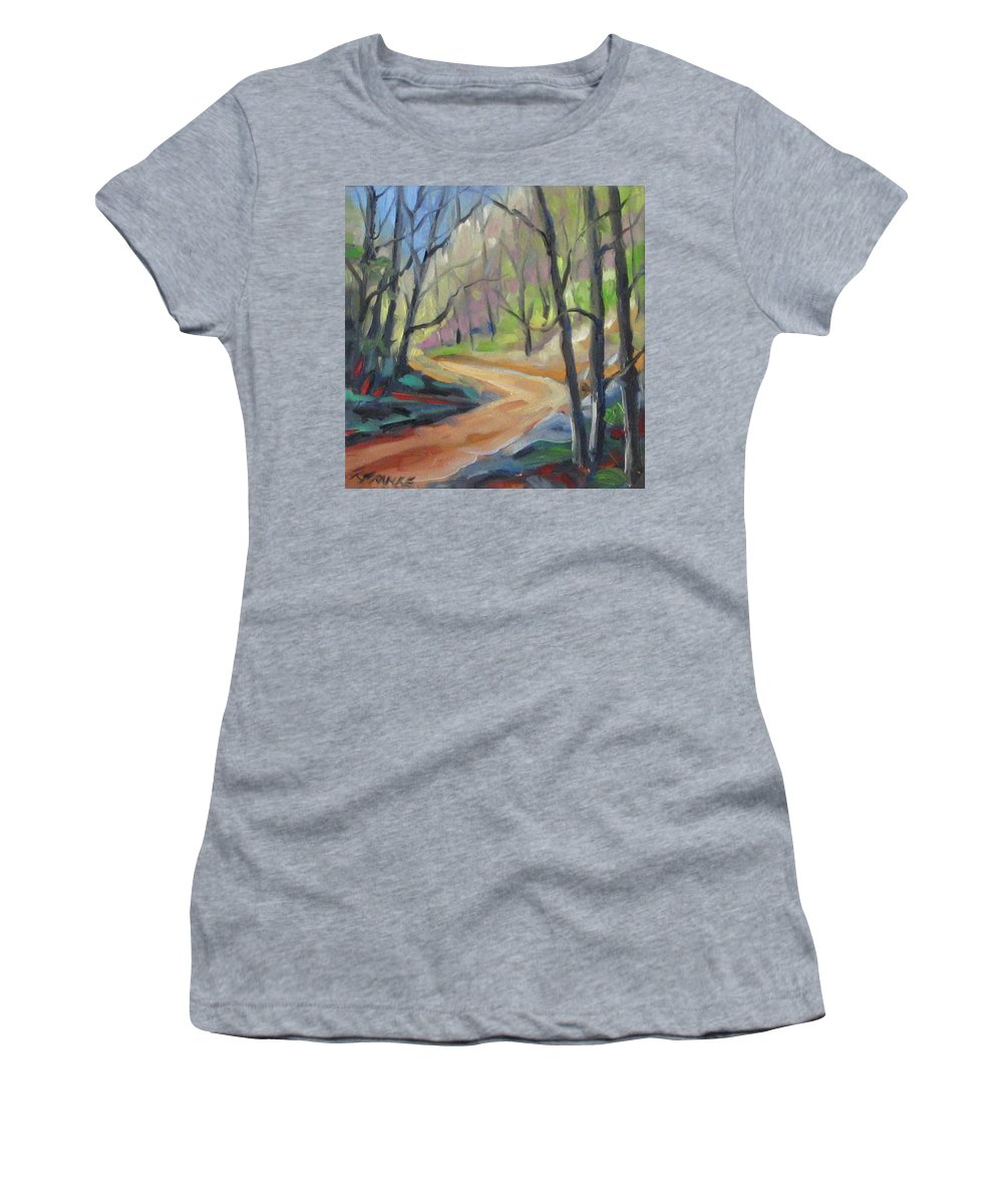 Art Women's T-Shirt (Athletic Fit) featuring the painting Forest Way by Richard T Pranke