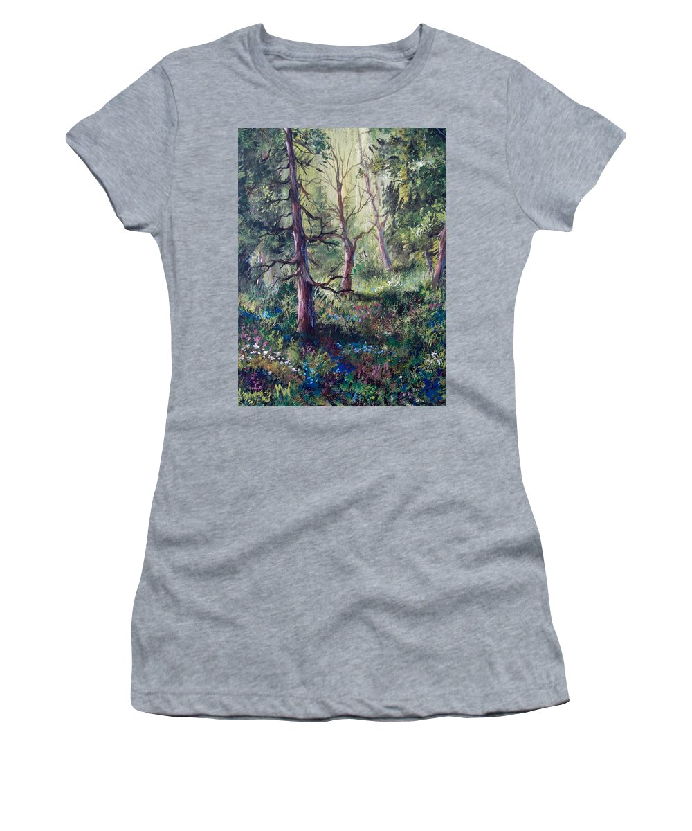 Landscapes Women's T-Shirt (Athletic Fit) featuring the painting Forest Wildflowers by Megan Walsh