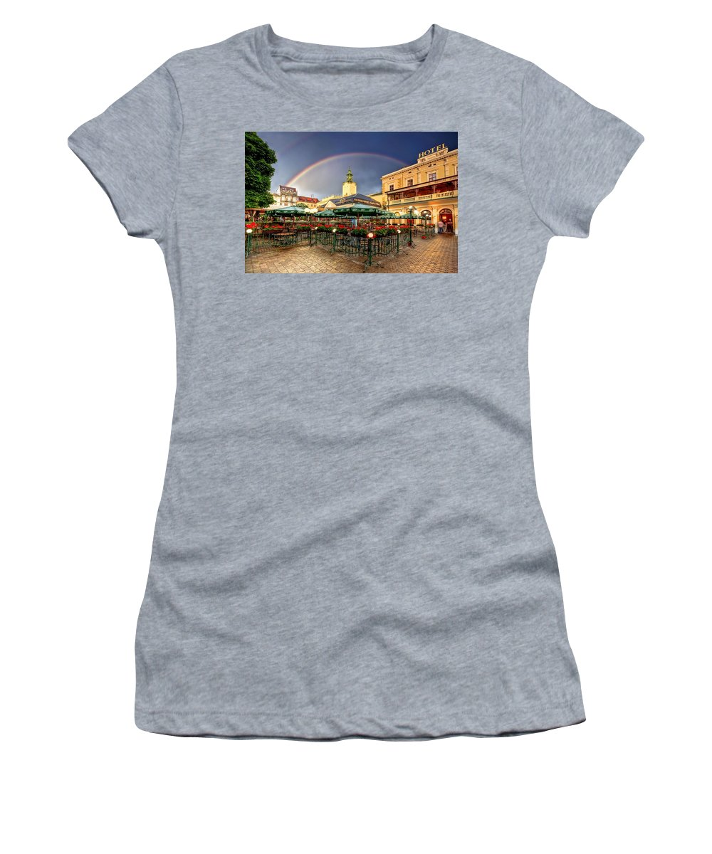 Ukraine Women's T-Shirt (Athletic Fit) featuring the photograph Forget Me Not by Evelina Kremsdorf