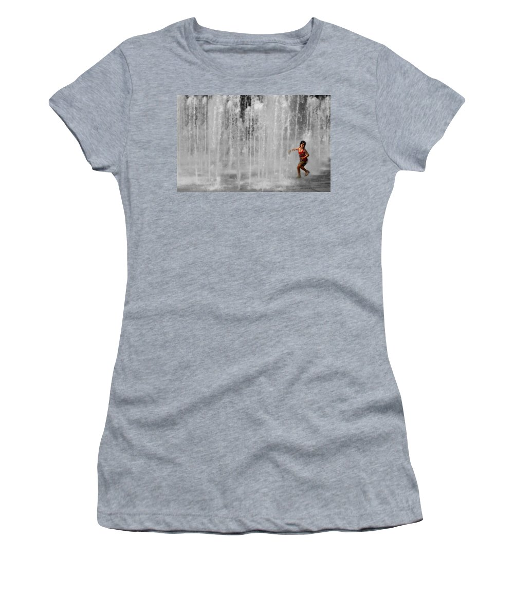 Water Women's T-Shirt (Athletic Fit) featuring the photograph Fountain Play by Perry Webster