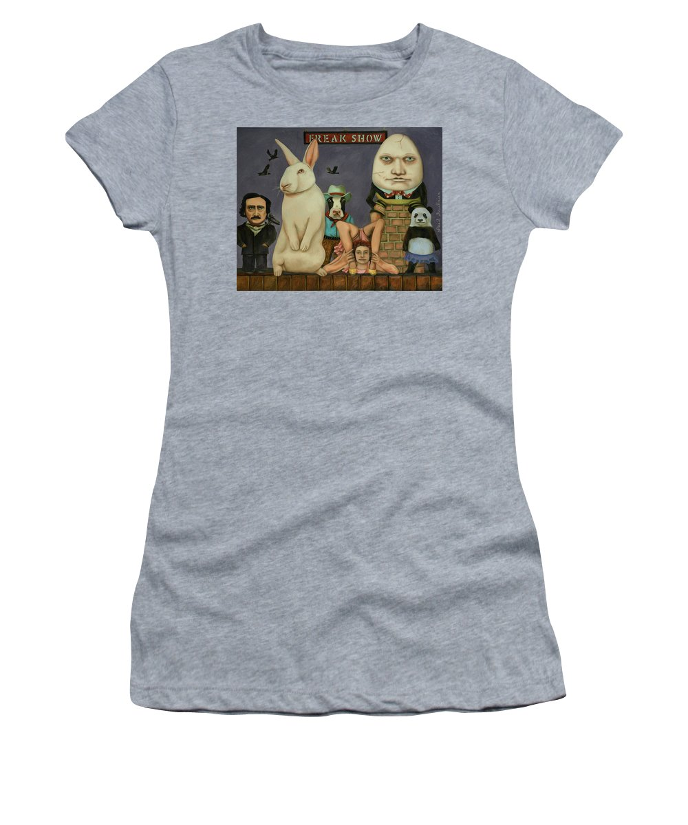 Edgar Allan Poe Women's T-Shirt (Athletic Fit) featuring the painting Freak Show by Leah Saulnier The Painting Maniac