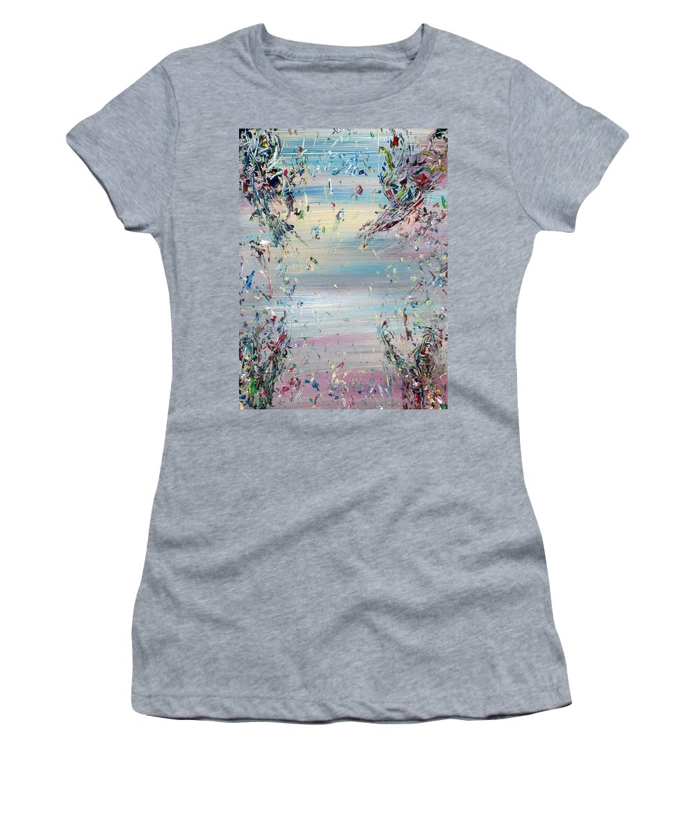 Abstract Women's T-Shirt (Athletic Fit) featuring the painting Free Improvisation #8 - Angels - by Fabrizio Cassetta