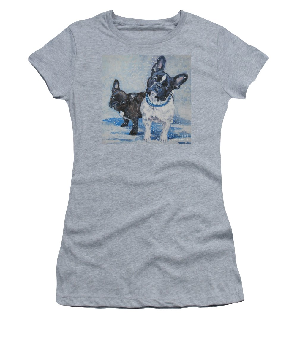 Dog Women's T-Shirt (Athletic Fit) featuring the painting French Bulldog Mom And Pup by Lee Ann Shepard