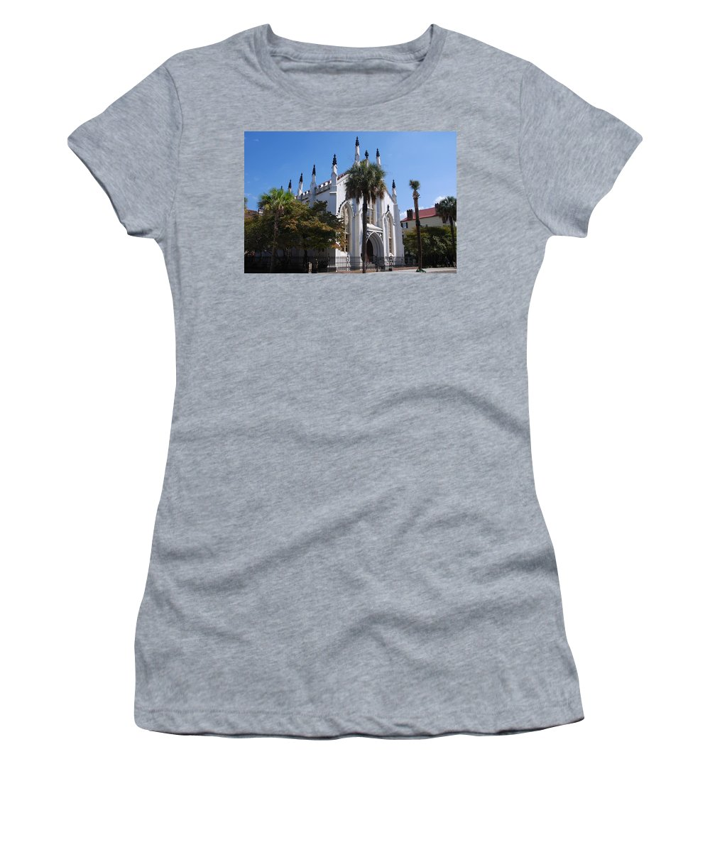 Photography Women's T-Shirt (Athletic Fit) featuring the photograph French Huguenot Church In Charleston by Susanne Van Hulst