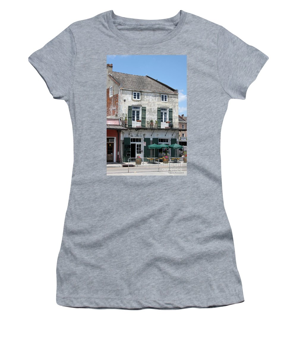 Architecture Women's T-Shirt (Athletic Fit) featuring the photograph French Market Cafe by Todd Blanchard