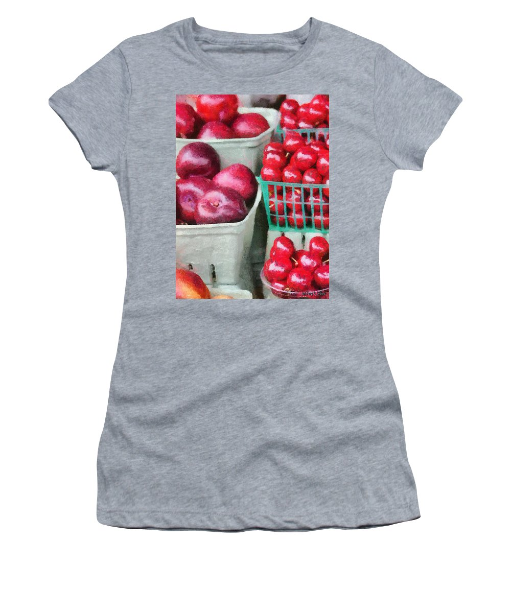 Apple Women's T-Shirt featuring the painting Fresh Market Fruit by Jeffrey Kolker