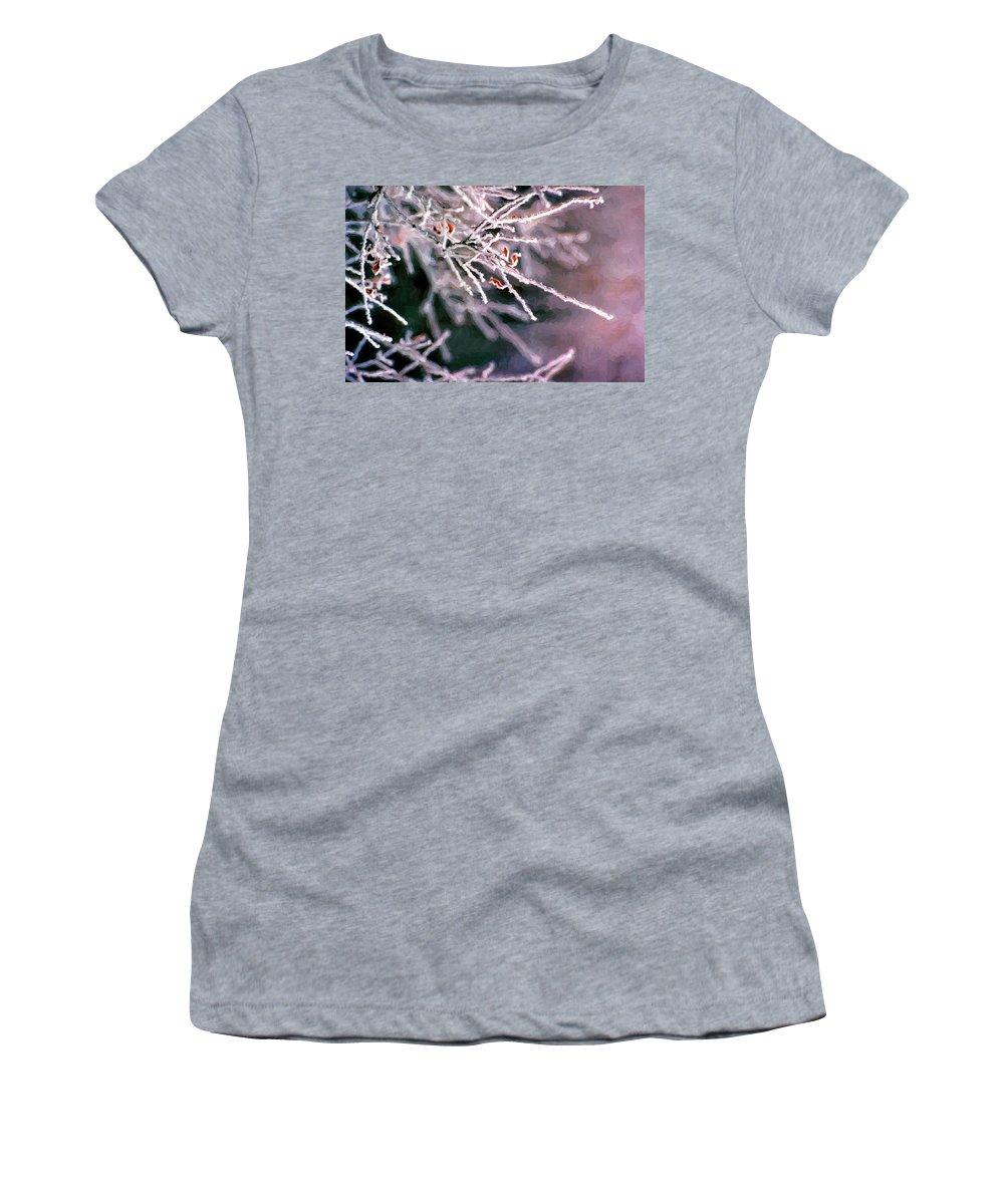 Frost Women's T-Shirt featuring the digital art Frosty Twigs by Casey Heisler
