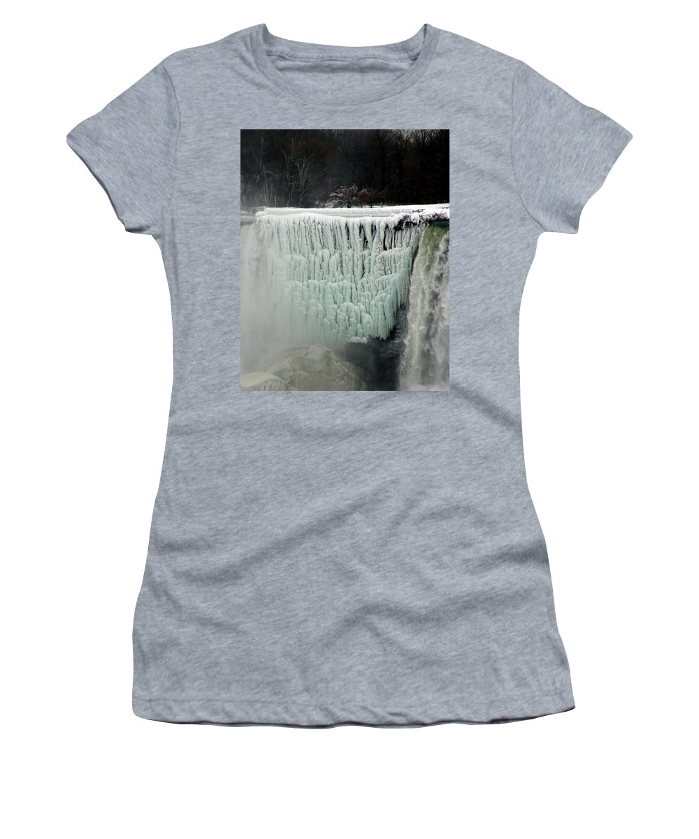 Landscape Women's T-Shirt (Athletic Fit) featuring the photograph Frozen Falls by Anthony Jones