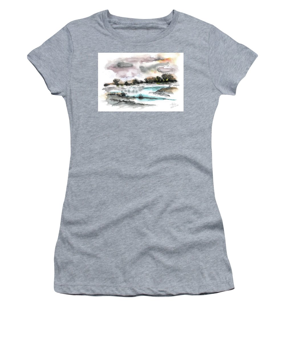 Abstract Landscape Women's T-Shirt featuring the painting Frozen river by Aniko Hencz