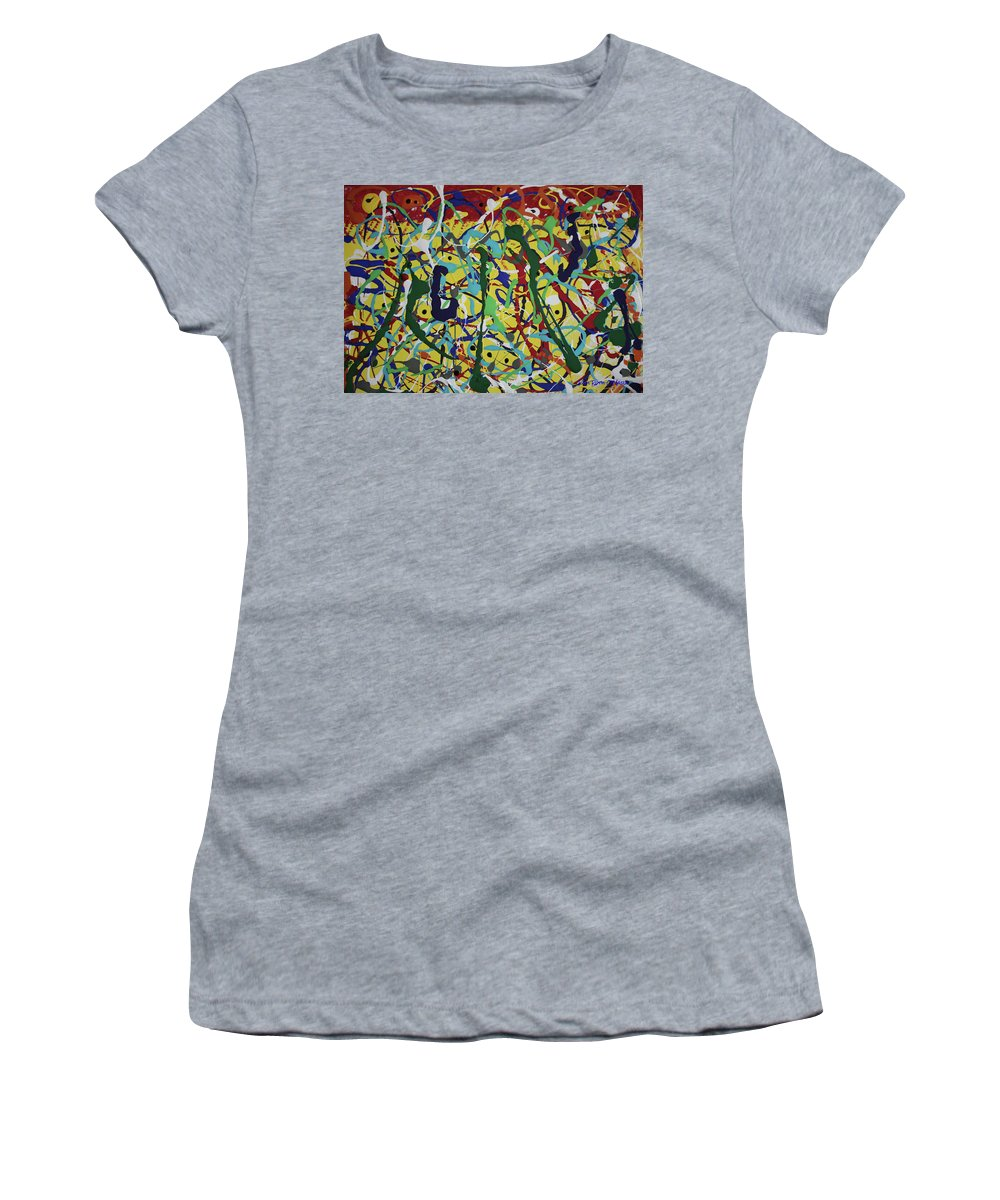 Abstract Women's T-Shirt featuring the painting Fun Time by Pam Roth O'Mara