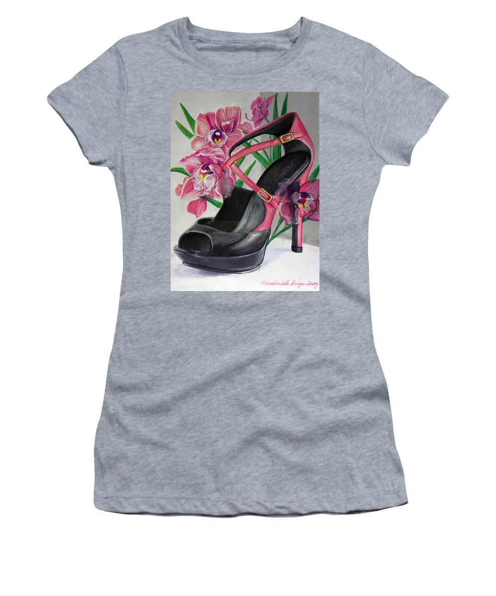 Fuschia Women's T-Shirt (Athletic Fit) featuring the mixed media Fuchsia Orchid Colour Block by Karon Melillo DeVega