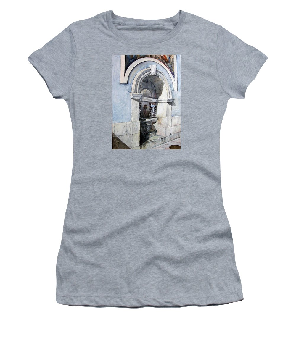 Fuente Women's T-Shirt featuring the painting Fuente Castro Urdiales by Tomas Castano