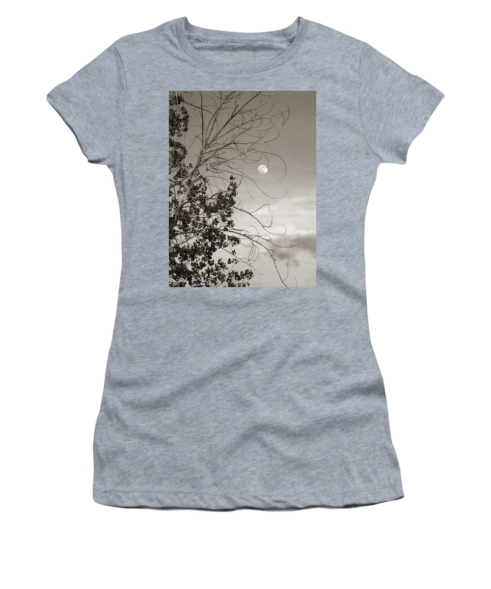 Full Women's T-Shirt (Athletic Fit) featuring the photograph Full Moon Behind Cottonwood Tree by Marilyn Hunt