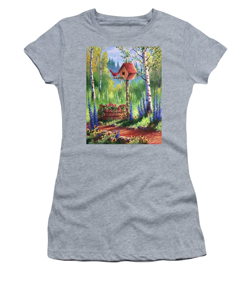 Bird Women's T-Shirt (Athletic Fit) featuring the painting Garden Birdhouse by David G Paul