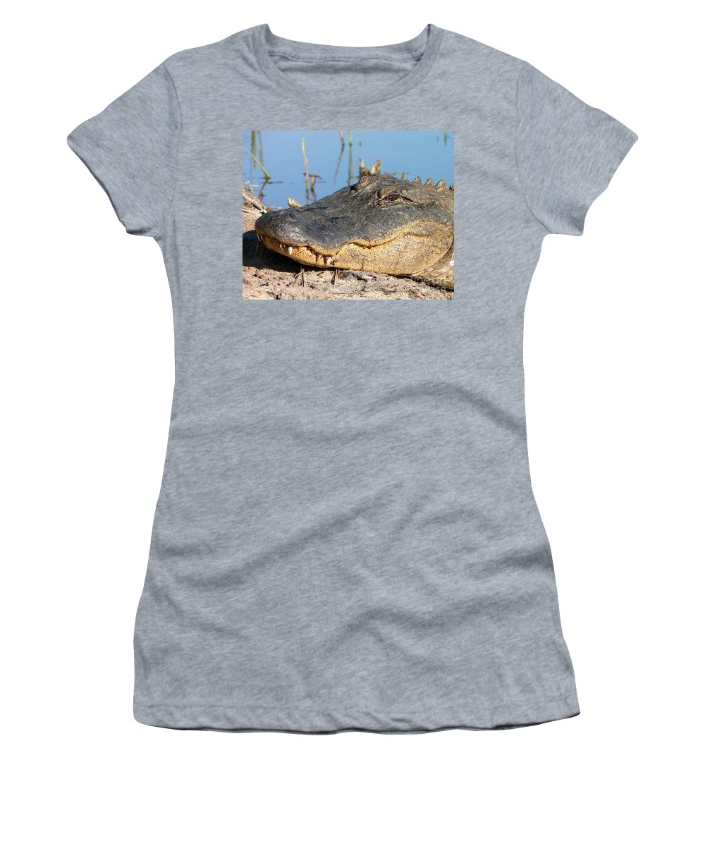 Alligator Women's T-Shirt featuring the photograph Gator Grin by Al Powell Photography USA