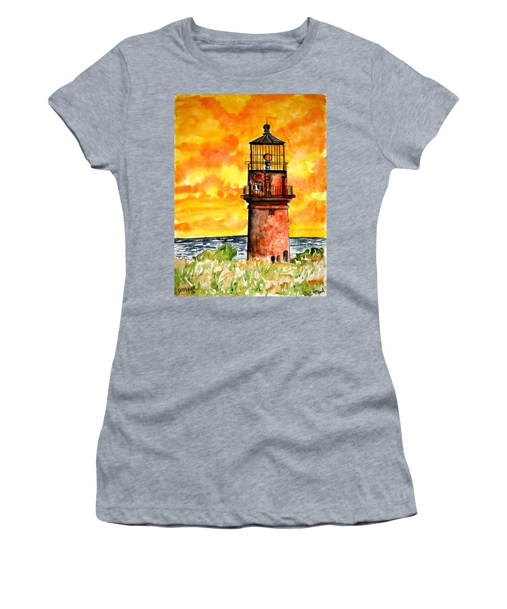 Beach Women's T-Shirt (Athletic Fit) featuring the painting Gay Head Lighthouse Martha's Vineyard by Derek Mccrea