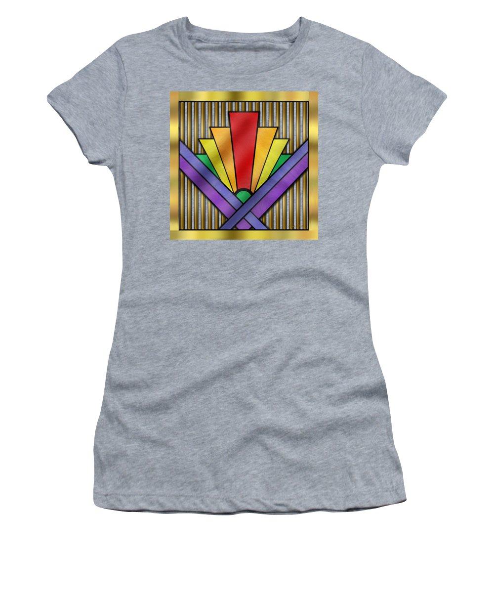 Gay Pride Women's T-Shirt featuring the digital art Rainbow Art Deco by Chuck Staley