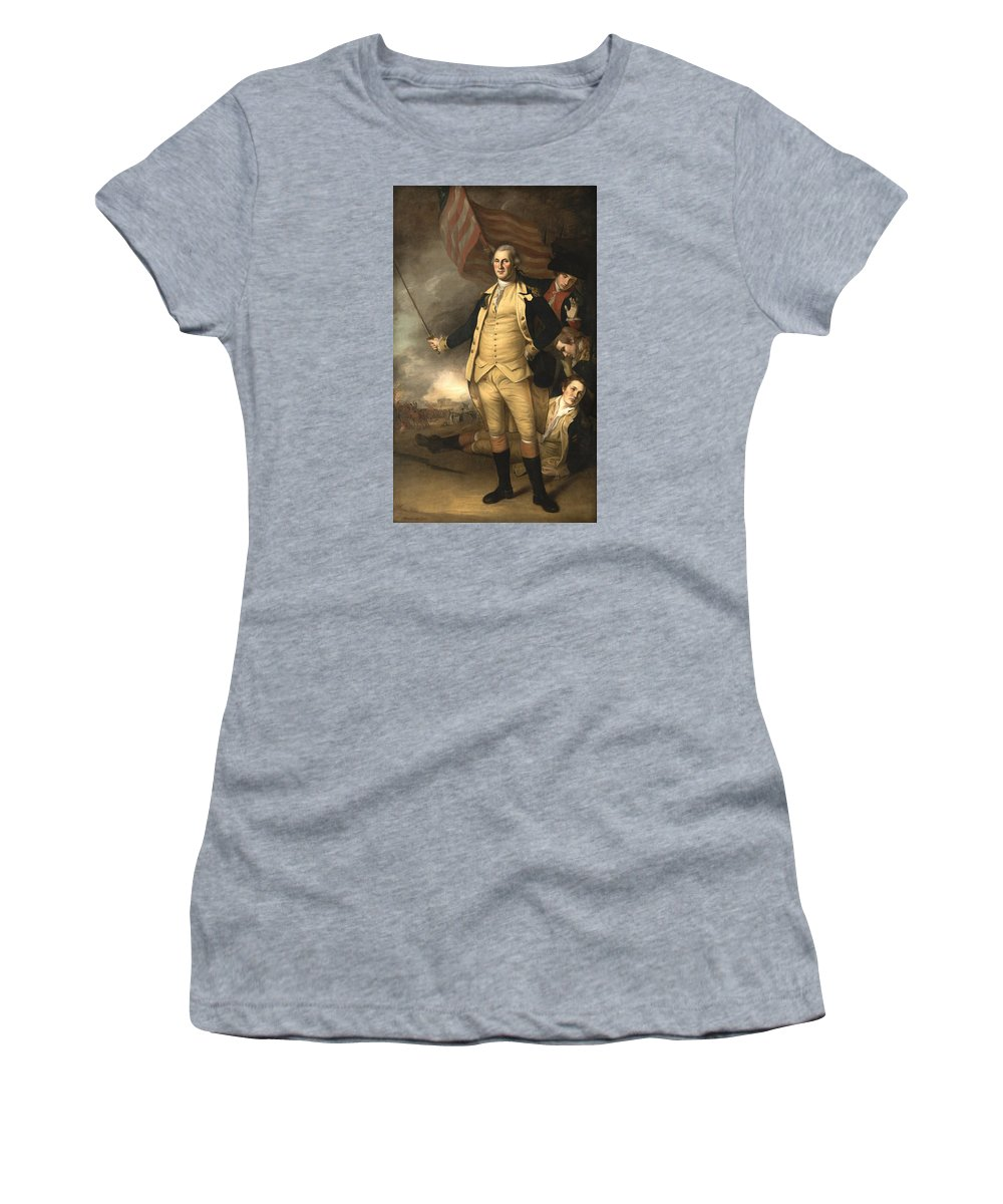 George Washington Women's T-Shirt (Athletic Fit) featuring the painting General Washington At The Battle Of Princeton by War Is Hell Store