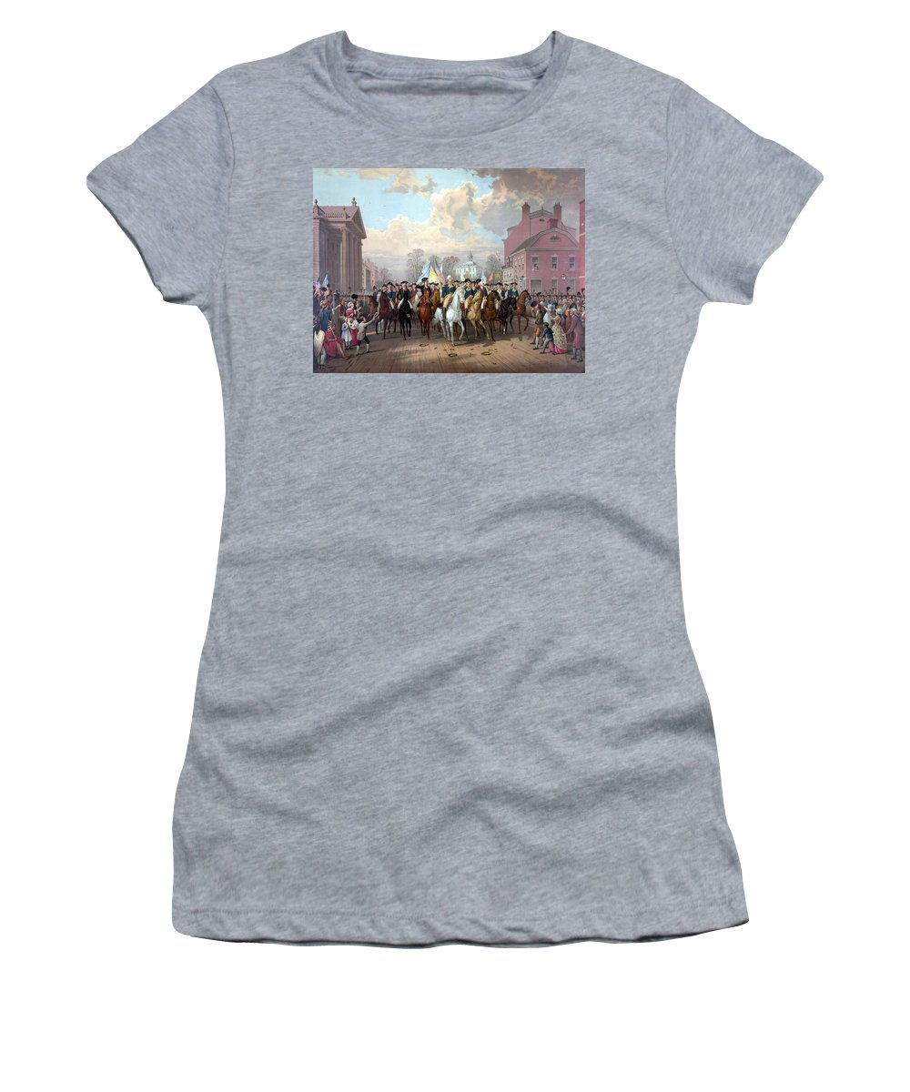 George Washington Women's T-Shirt (Athletic Fit) featuring the painting General Washington Enters New York by War Is Hell Store