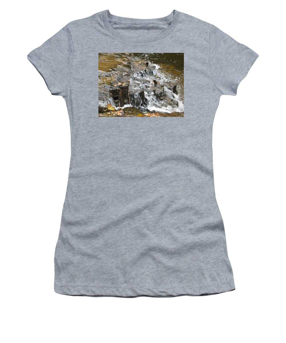 Waterfall Women's T-Shirt (Athletic Fit) featuring the photograph Gentle Falls by Kelly Mezzapelle