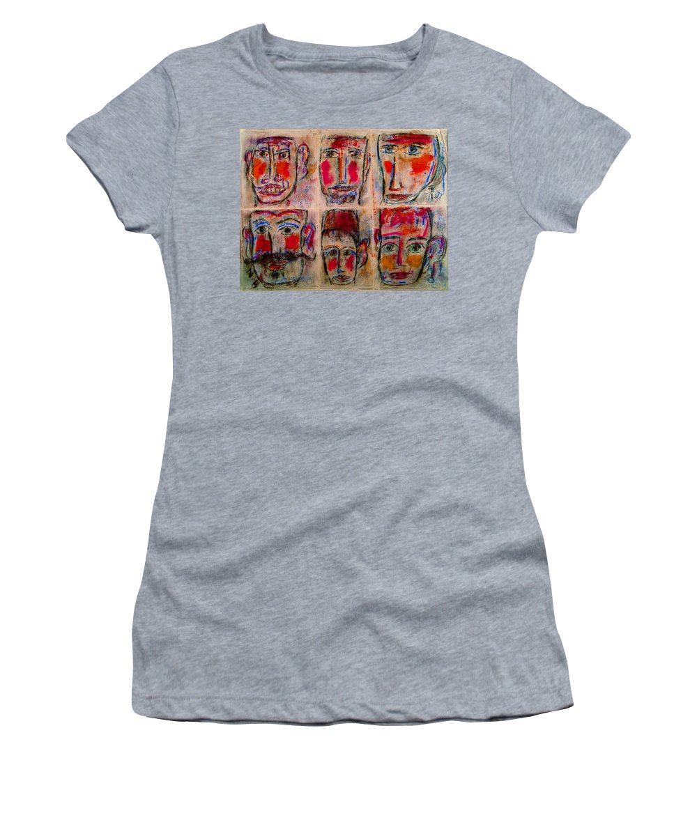 Expressionism Women's T-Shirt (Athletic Fit) featuring the mixed media Gentlemen by Natalie Holland