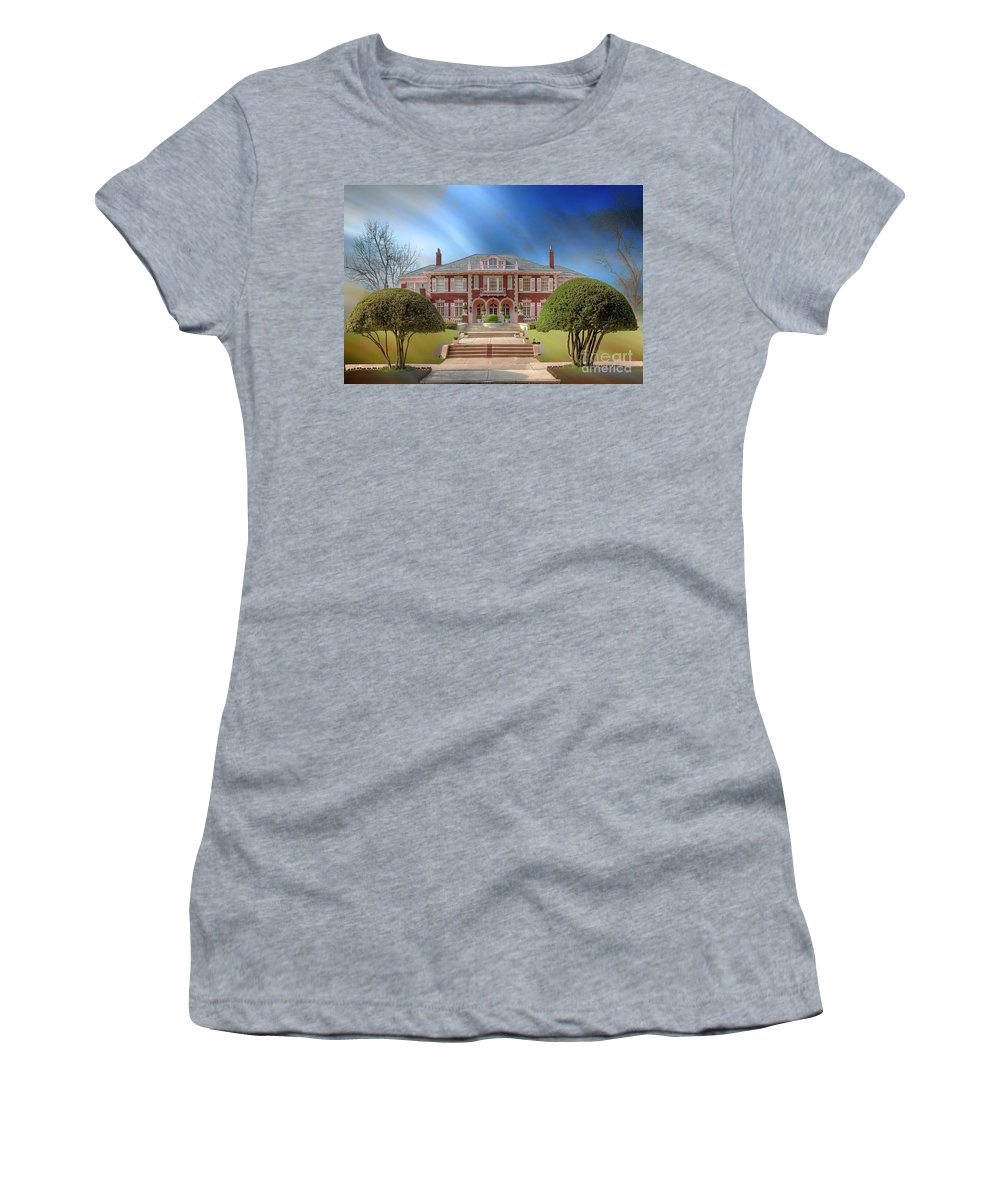 Horizontal Women's T-Shirt (Athletic Fit) featuring the photograph George C Greer House by Larry Braun
