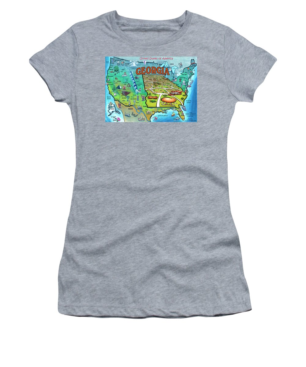 Georgia Women's T-Shirt featuring the painting Georgia Usa Cartoon Map by Kevin Middleton
