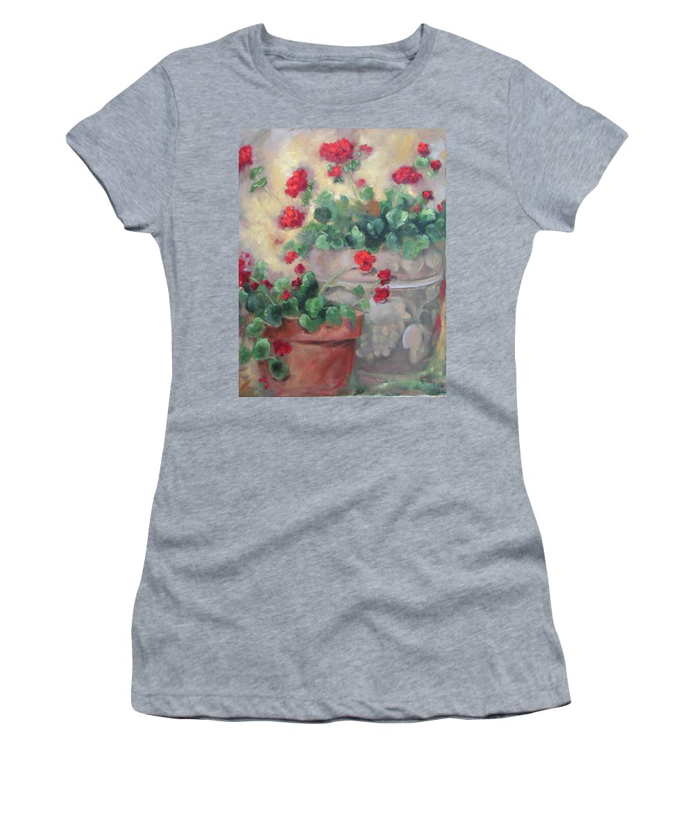 Geraniums Women's T-Shirt (Athletic Fit) featuring the painting Geraniums by Ginger Concepcion