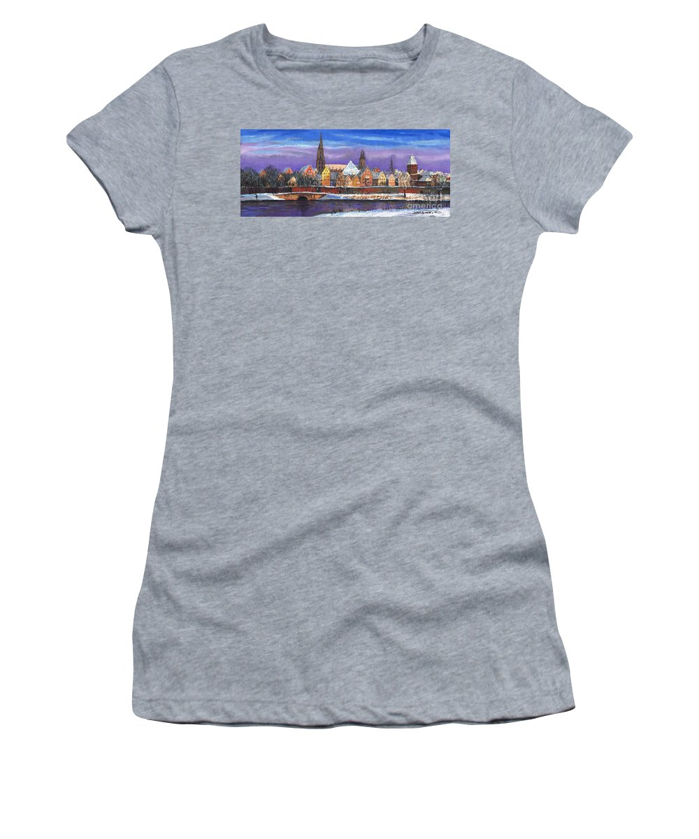 Pastel Women's T-Shirt (Athletic Fit) featuring the painting Germany Ulm Panorama Winter by Yuriy Shevchuk
