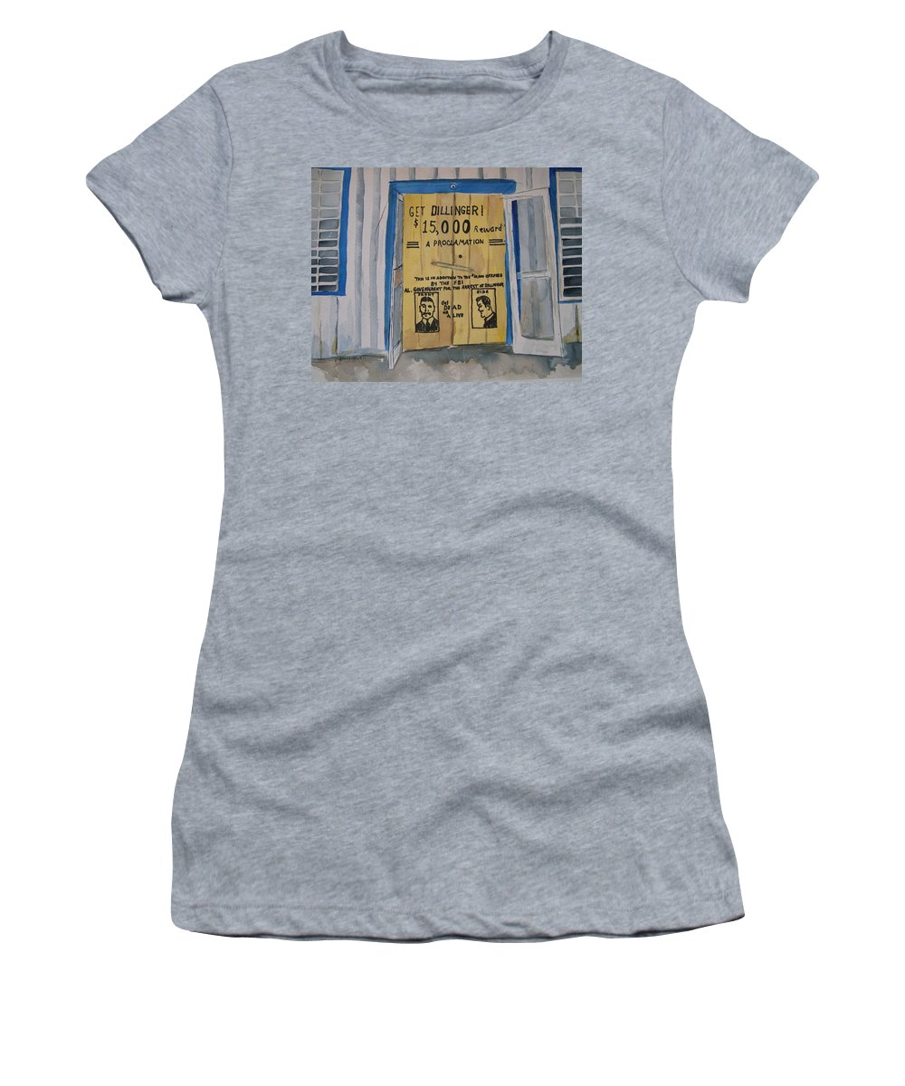 Building Women's T-Shirt (Athletic Fit) featuring the painting Get Dillinger by Patricia Caldwell