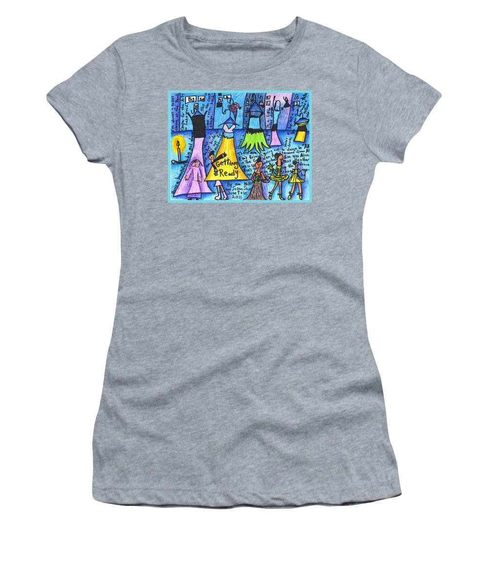 Susan Shie Women's T-Shirt (Athletic Fit) featuring the drawing Getting Ready A Collaboration With Eva Miller by Susan Shie