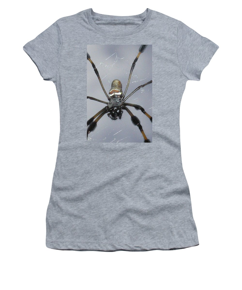 Nature Women's T-Shirt (Athletic Fit) featuring the photograph Getting To Know A Golden Orb Weaver by Kimberly Mohlenhoff